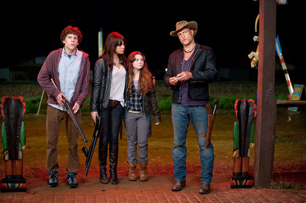 Zombieland movie image Woody Harrelson, Jesse Eisenberg, Abigail Breslin, Emma Stone
